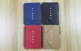 Spiral Notebook with pen sticky notes