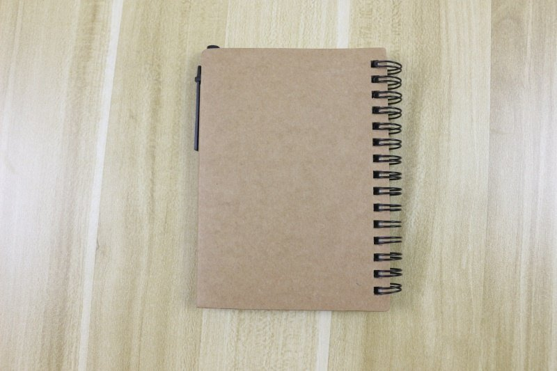 Spiral Notebook with pen sticky notes back