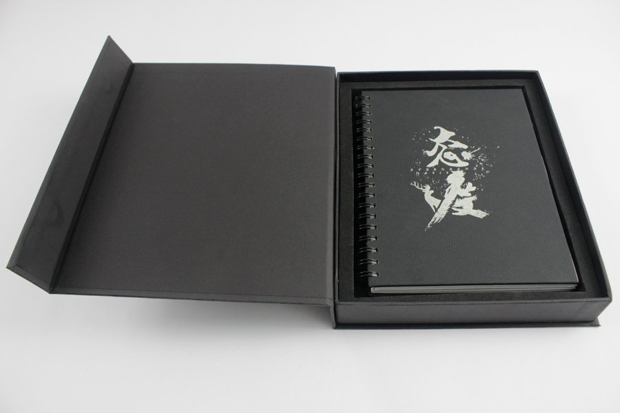 Black Carboard Box with PU Leather Cover Spiral Notebook