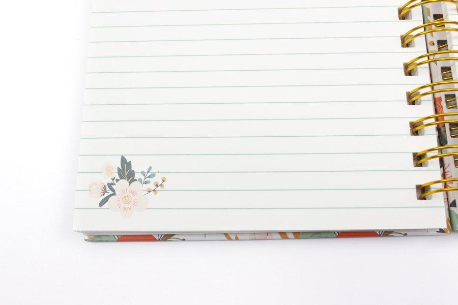 Custom Hardcover Spiral Notebook & Journal flower printing