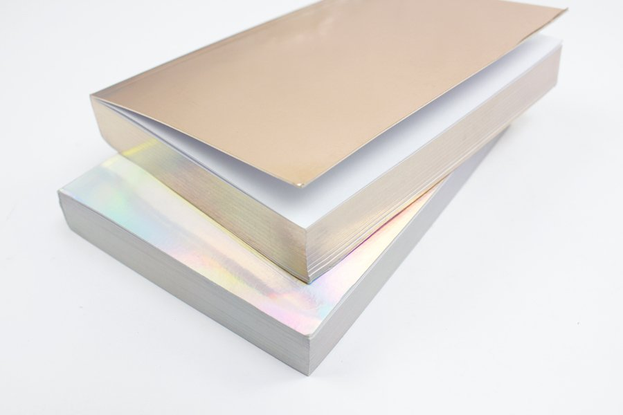 Custom Holographic Silver and Gold Notebook edge print