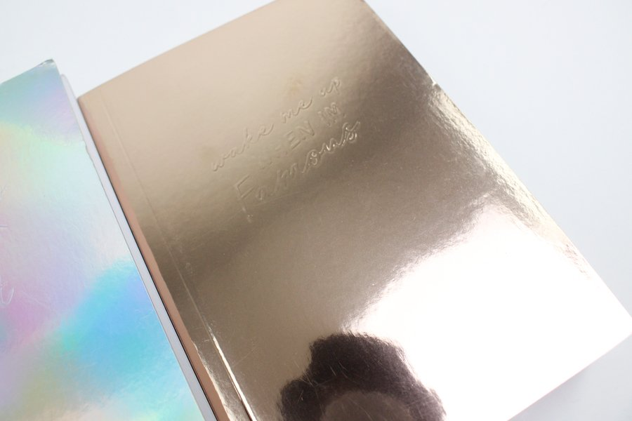 Custom Holographic Silver and Gold Notebook embossing