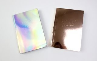 Custom Holographic Silver and Gold Notebook with logo