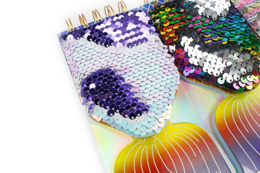 Custom Sequin Notebook Fish Shape Wire-o Binding (3)