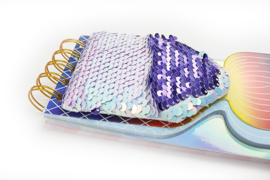 Custom Sequin Notebook Fish Shape Wire-o Binding (4)