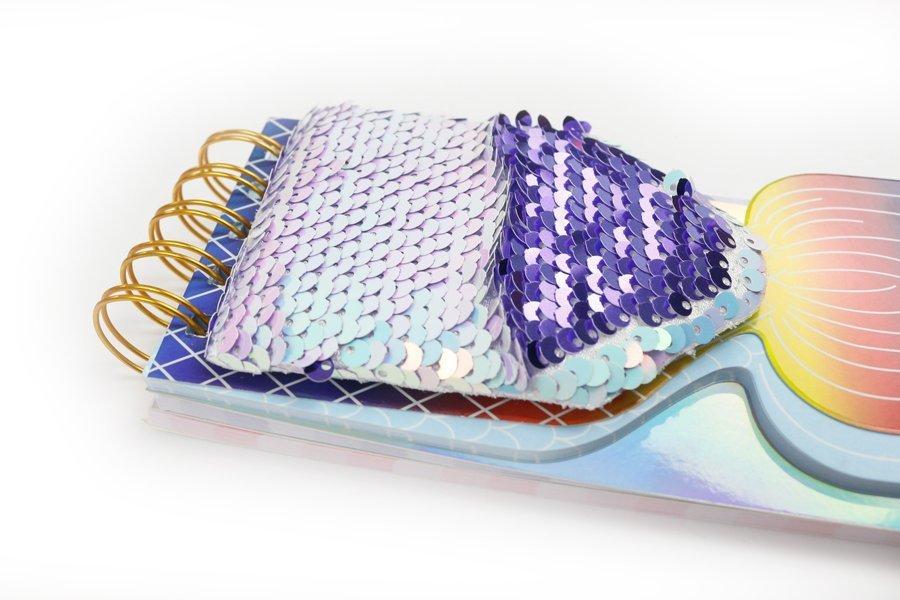 Custom Sequin Notebook Fish Shape Wire-o Binding (4)