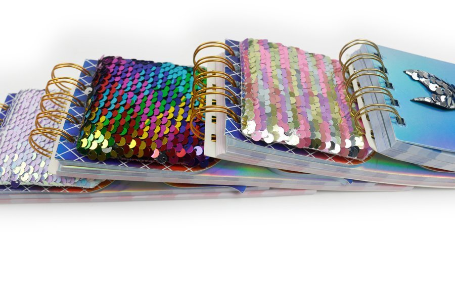 Custom Sequin Notebook Fish Shape Wire-o Binding thickness