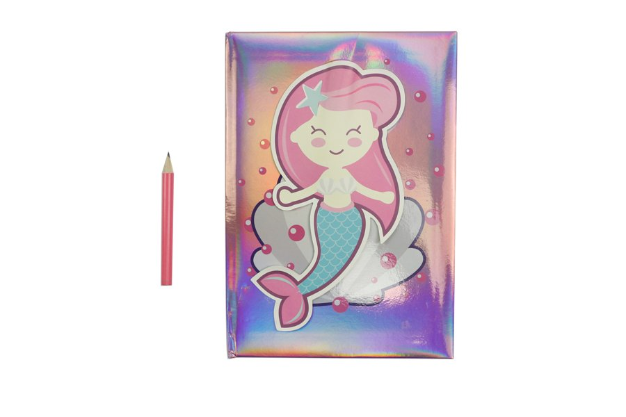 Holographic Hardcover Notebook Pink and Blue Color Mermaids with pen