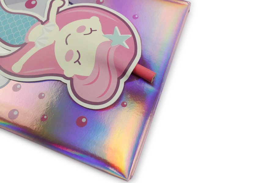Holographic Hardcover Notebook Pink and Blue Color Mermaids with pencil