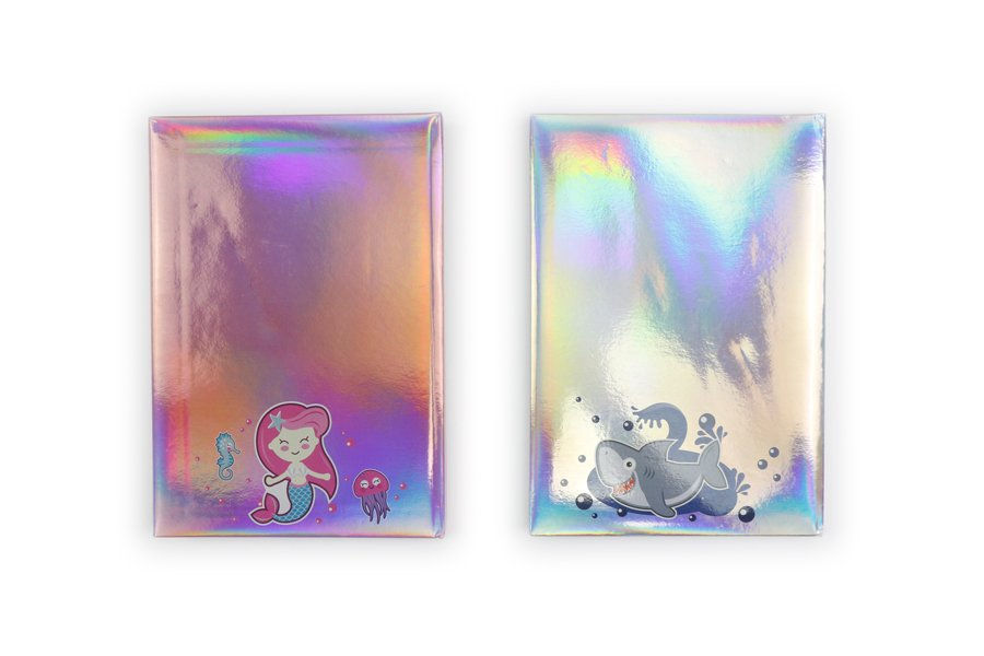 Holographic Hardcover Notebook Pink and Blue Color back