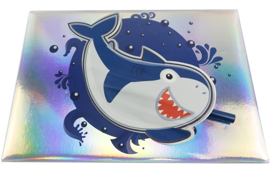 Holographic Hardcover Notebook Pink and Blue Color shark front