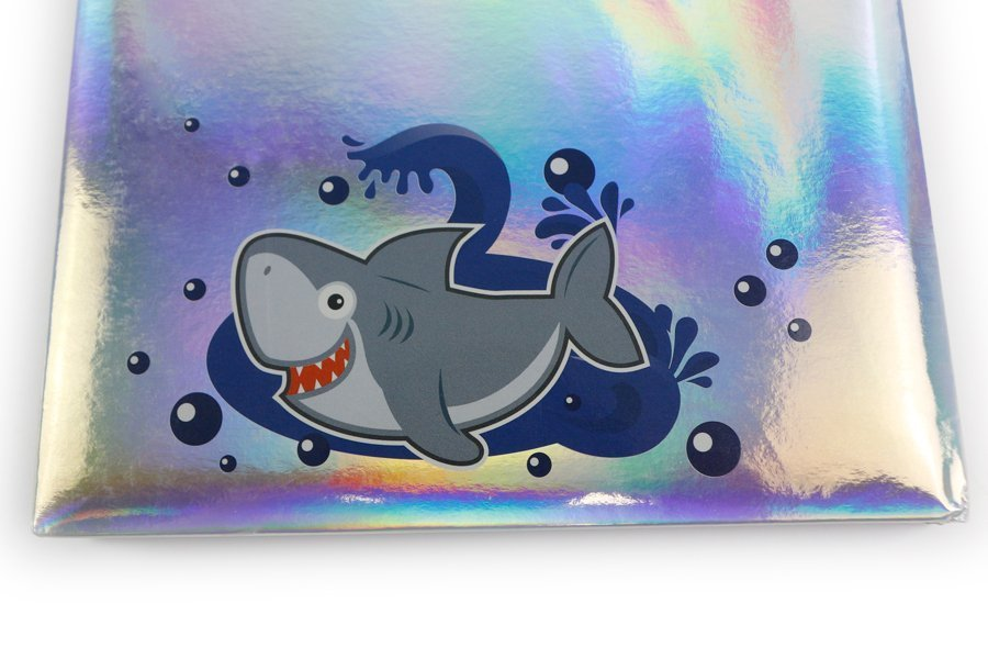 Holographic Hardcover Notebook Pink and Blue Color shark