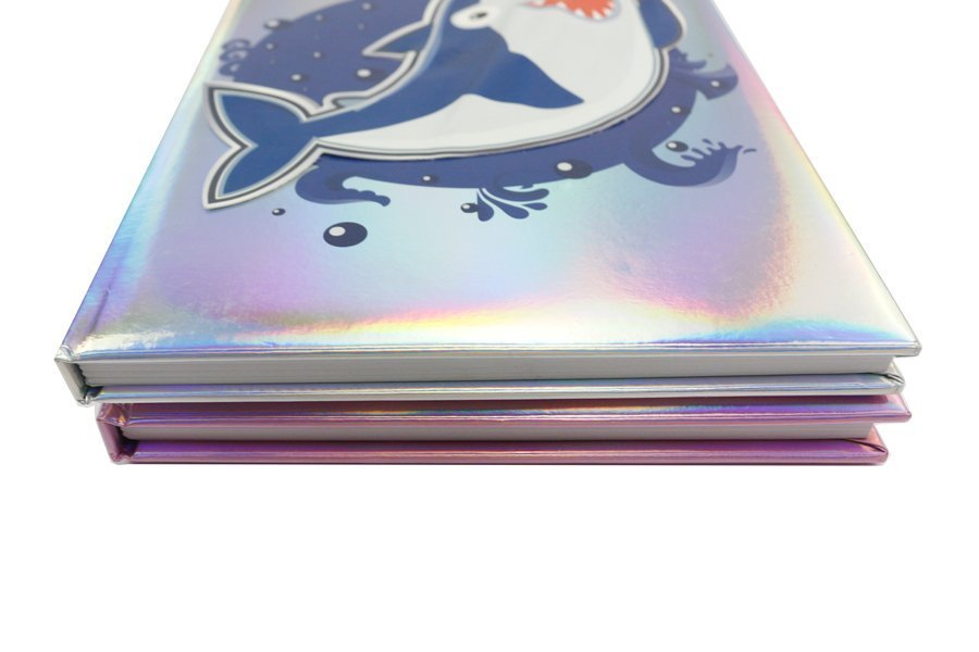 Holographic Hardcover Notebook Pink and Blue Color thickness
