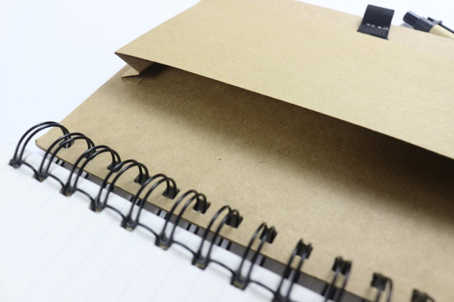 Kraft Paper Hard Cover Wire-o Notebook Card pocket