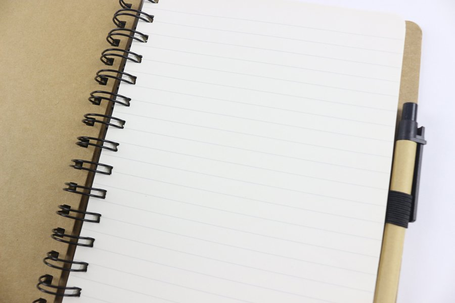Kraft Paper Hard Cover Wire-o Notebook inside