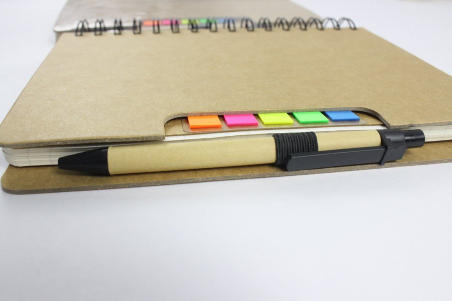 Kraft Paper Hard Cover Wire-o Notebook paper pen