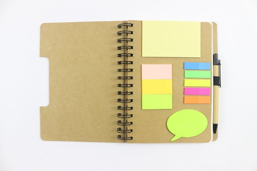 Kraft Paper Hard Cover Wire-o Notebook sticky notes