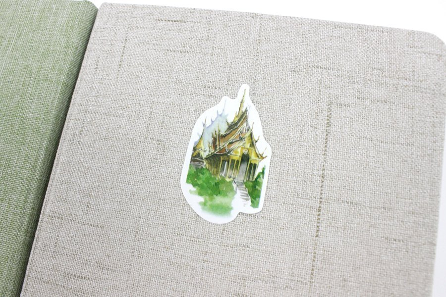 Linen Hardcover Notebook with sticker