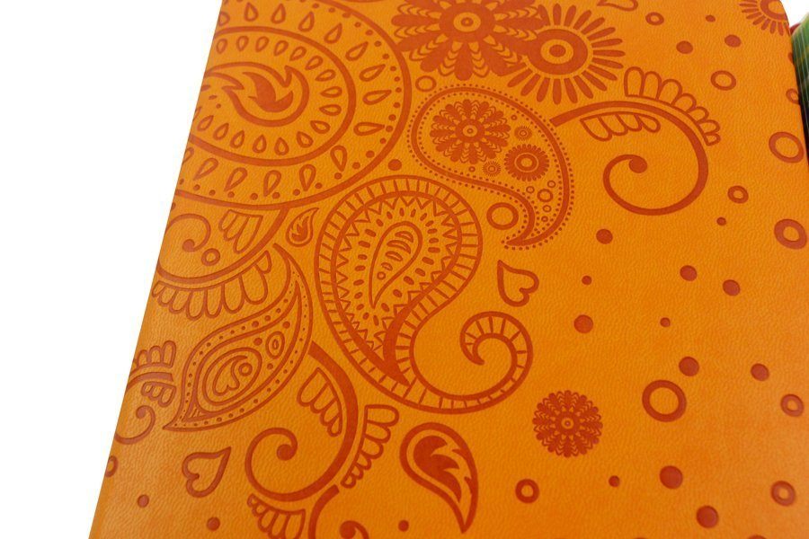 custom journal with leatherette cover debossing
