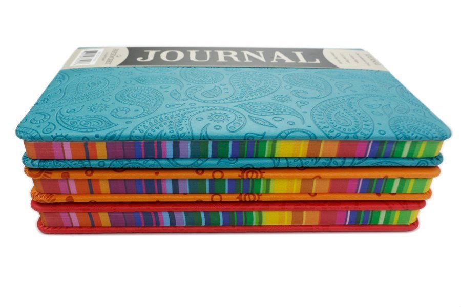 custom journal with leatherette cover edge printing